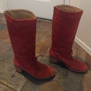 Stand out Anthro tall red suede boots